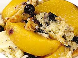 One-Bowl Peach and Blueberry Cobbler