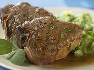 Sage and Mint Lamb Loin Chops on Mashed Potatoes