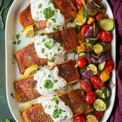 Spiced Salmon with Lemon Yogurt Sauce Recipe