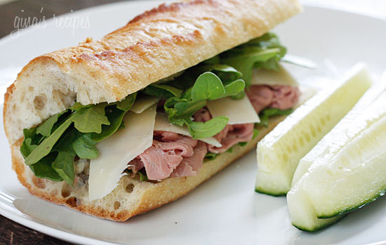 Roast Beef, Arugula and Shaved Parmesan on a Baguette – Cook your ...