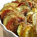 VEGETABLE TIAN (thinly sliced veggies topped with cheese and then roasted)