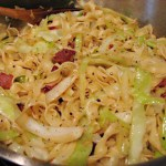 Cabbage noodles bacon