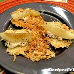 Chardonnay Poached pears with Bousin Cheese on Baked Parmesan Tuile