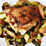 One Pan Roasted Chicken with Bacon, Brussel Sprouts and Easy Apple Jus