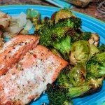 One Pan Roasted Fresh Salmon with Roasted Broccoli & Brussels Sprouts.  (A Cuisinart Steam/Convection Oven Recipe)