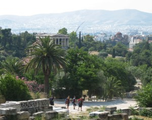 The parthenon and the forum in Athens, Greece