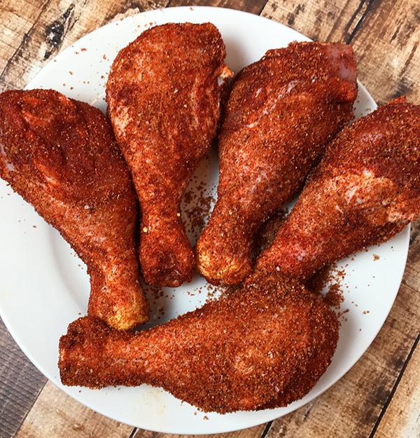 Chicken legs with homemade barbecuerub