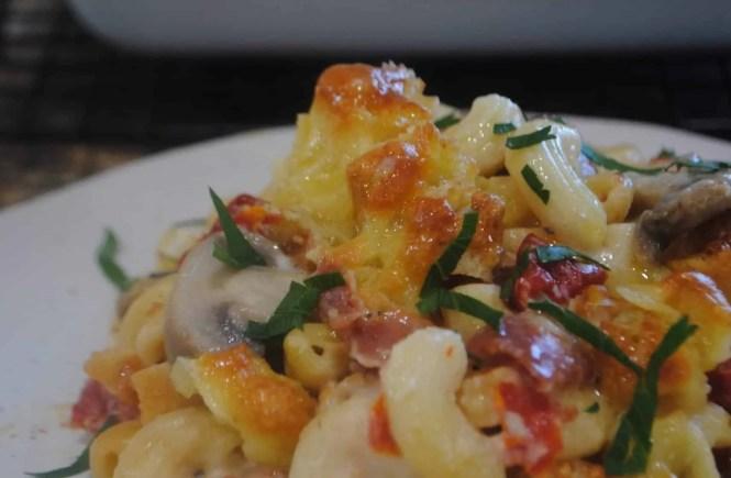 Macaroni with Salami, Tomato and Mushrooms - gluten free