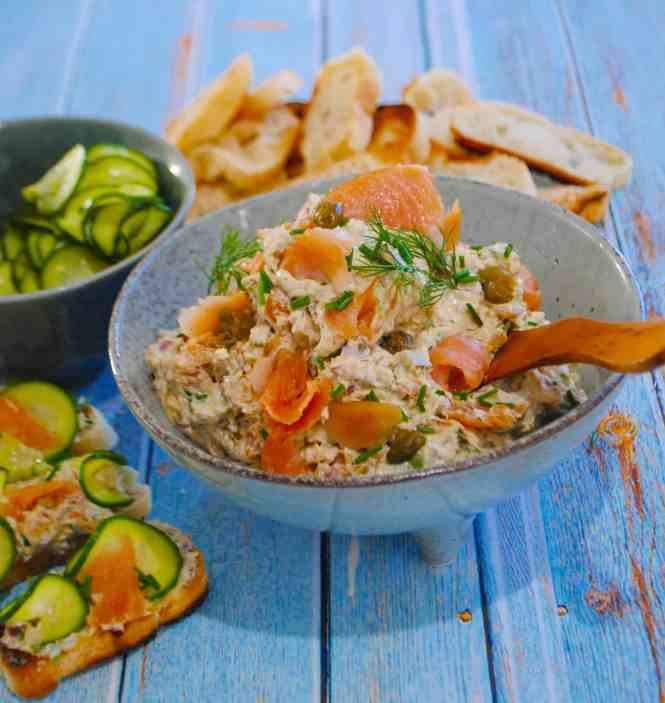 smoked salmon pate with quick pickled cucumbers