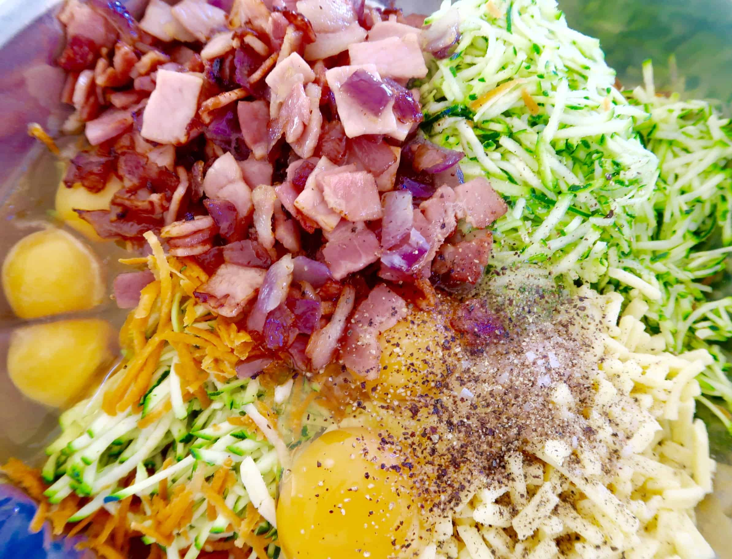 zucchini and bacon slice ingredients in a bowl ready to mix