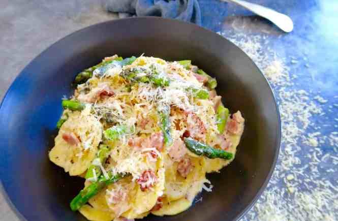 Ravioli with Asparagus and Bacon