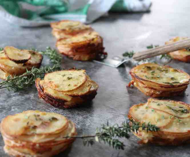 creamy muffin tin potato stacks