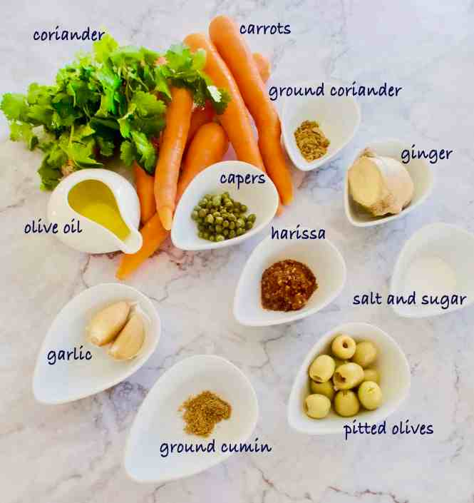 spicy moroccan carrot dip ingredients laid out on a bench ready to be made