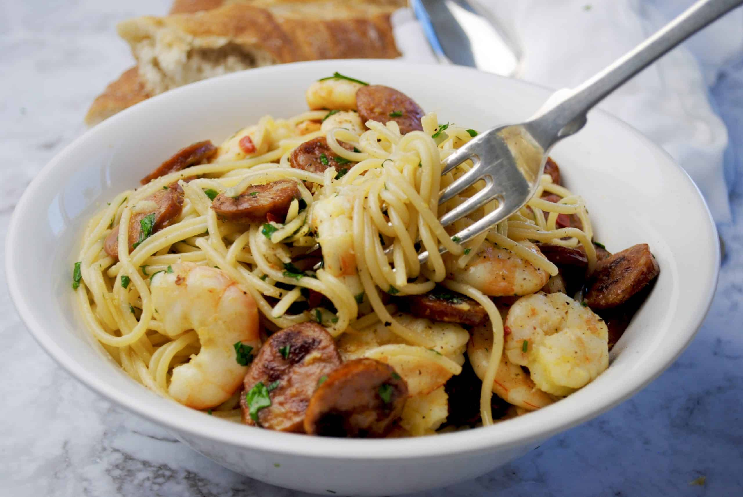 Chorizo and prawn pasta -