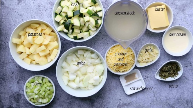 Ingredients to make Zucchini and Pesto Soup