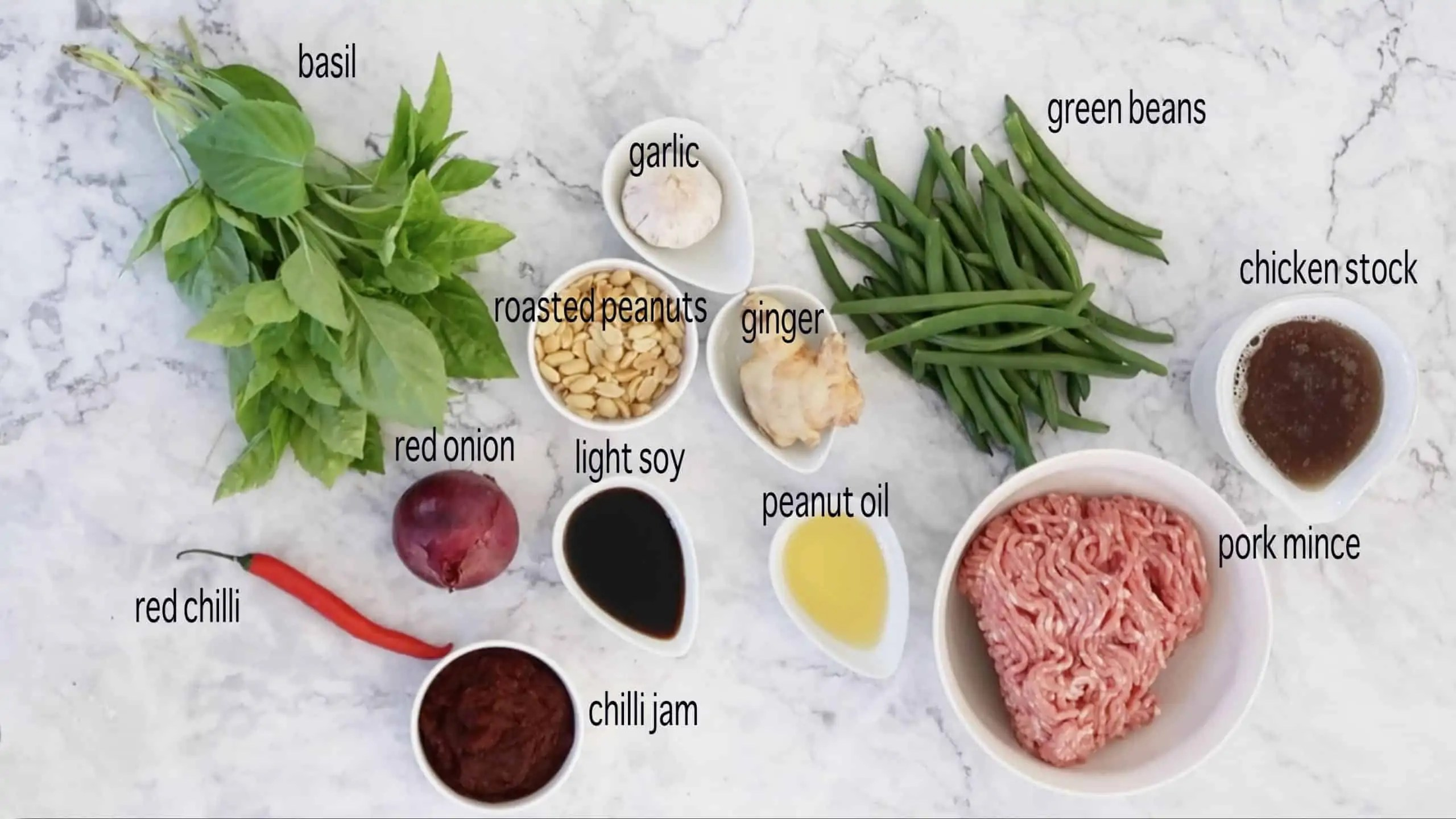 ingredients to cook Chilli Jam Pork Mince with Beans and Basil