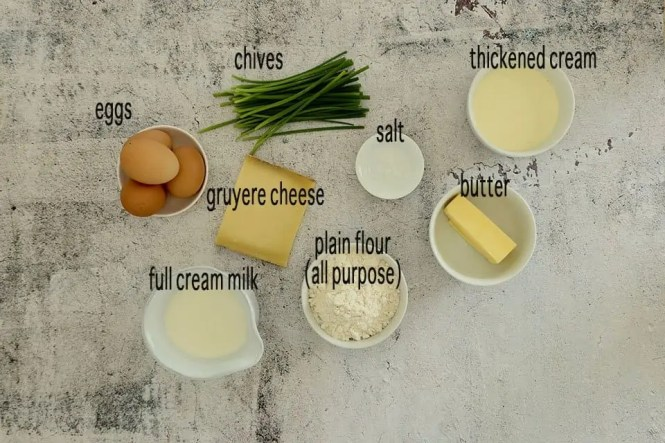 Ingredients to make Easy Twice Baked Cheese Souffles
