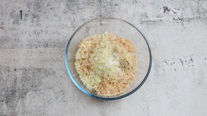 ingredients to make crispy hash browns in a glass bowl