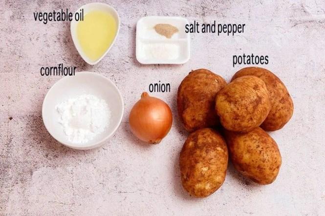 Ingredients to make Crispy hash browns
