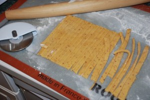 Cheese straws in the making