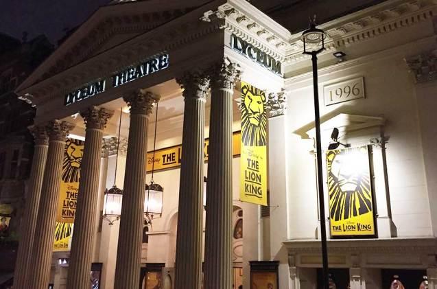 Façade du théâtre The Lion King, Musical Hall, Londres