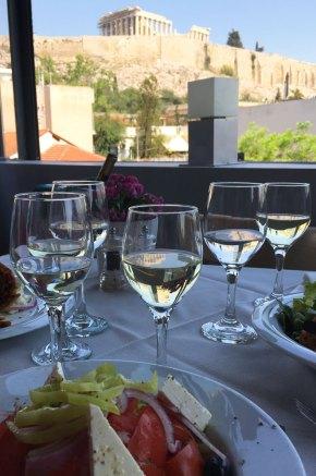 Restaurant Strofi, vue sur le Parthénon, Athènes, Grèce
