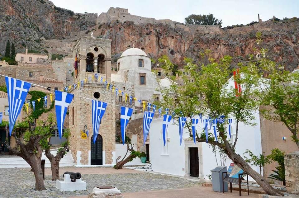Place du village de Monemvasia, Grèce