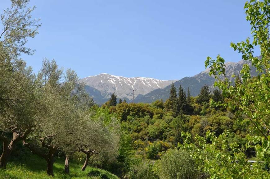 Vue sur les neiges éternelles des montagnes autour de Mystra, Grèce