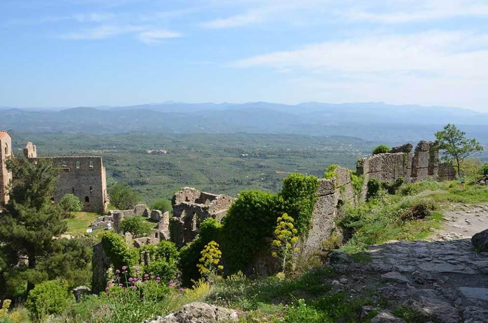 Vue sur la campagne grecque depuis le site de Mystra, Grèce