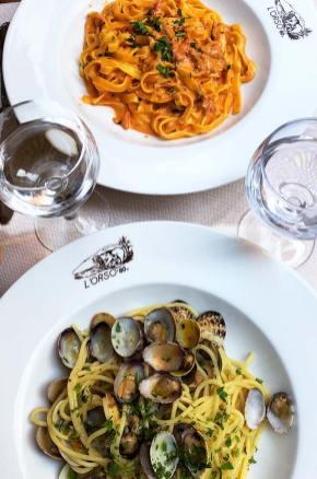 Mets du déjeuner au restaurant l'Orso, Rome, Italie