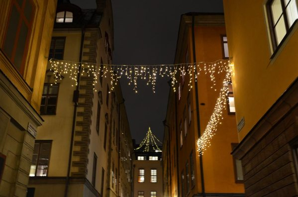 Décorations de noël à Gamla Stan, quartier de Stockholm, Suède