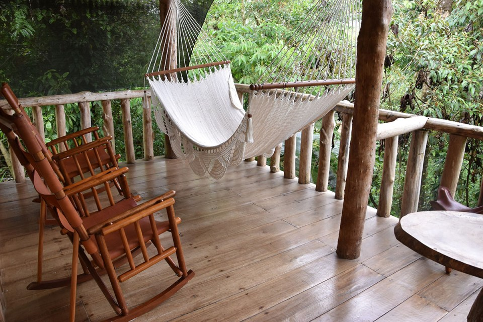 Terrasse de notre lodge à la Finca La Amistad, Costa Rica