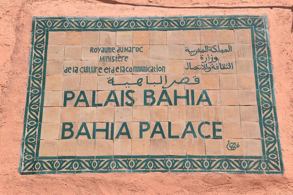 Panneau du Palais Bahia, Marrakech, Maroc