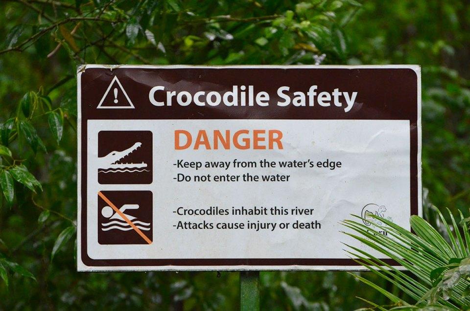 Panneau crocodile, Péninsule Nicoya, Costa Rica