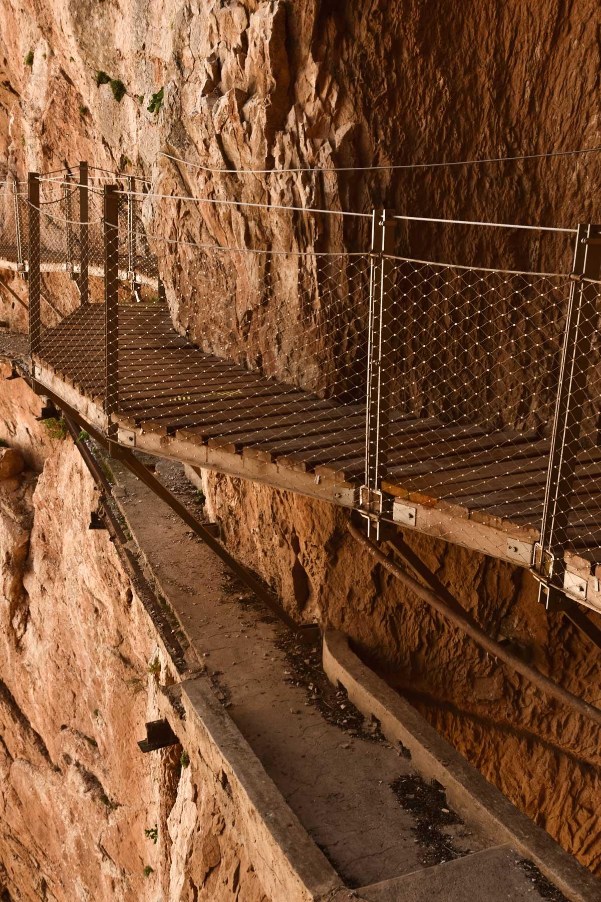 Zoom sur l'ancien chemin du Caminito del Rey, Andalousie