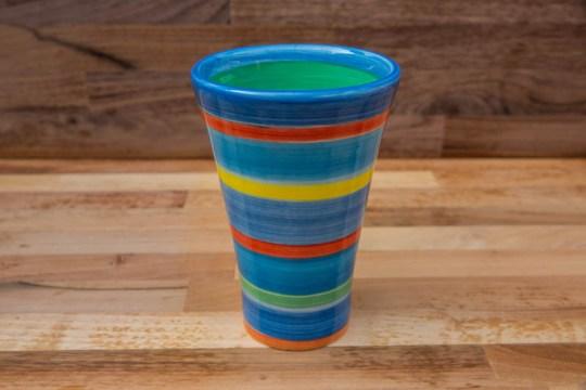 Horizontal Stripey large vase in Blue