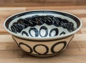 Black and White cereal bowl in Scribble