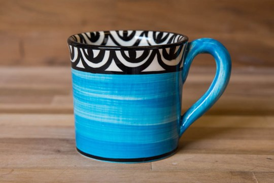 Aztec wide parallel mug in bright blue
