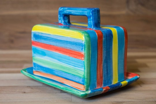 Horizontal Stripey butter dish in Blue