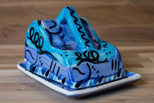 Abstract cheese dish in blue