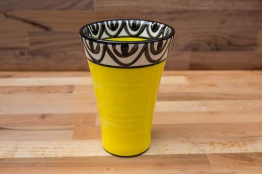Aztec large vase in yellow