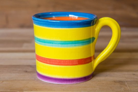 Horizontal stripey wide parallel mug in Yellow