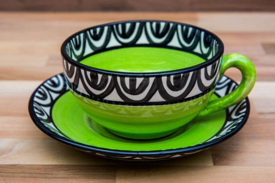 Aztec cup and saucer in lime green