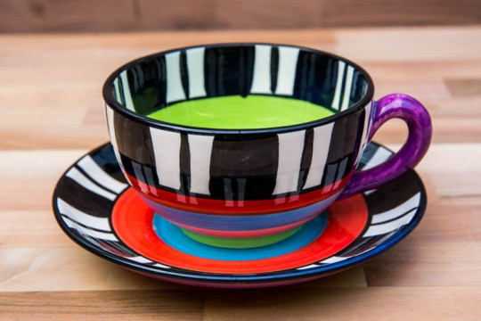 Hi-Life Gaudy cup and saucer in Broad Stripe