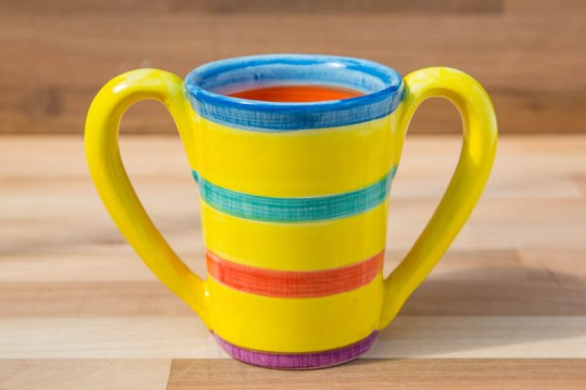 Double handle large parallel mug in Yellow