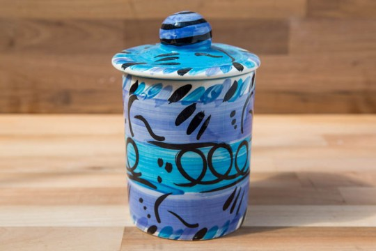 Abstract tea caddy in blue