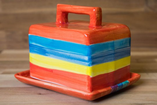 Horizontal Stripey butter dish in Red
