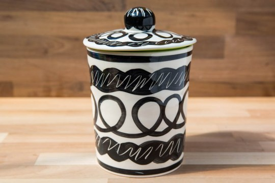 Black and White tea caddy in Scribble