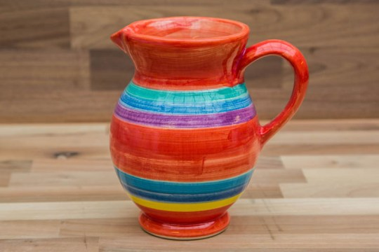 Horizontal Stripey small jug in red
