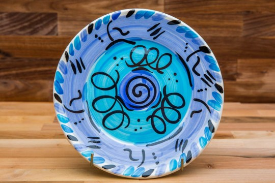 Abstract 11″ dinner plate in blue